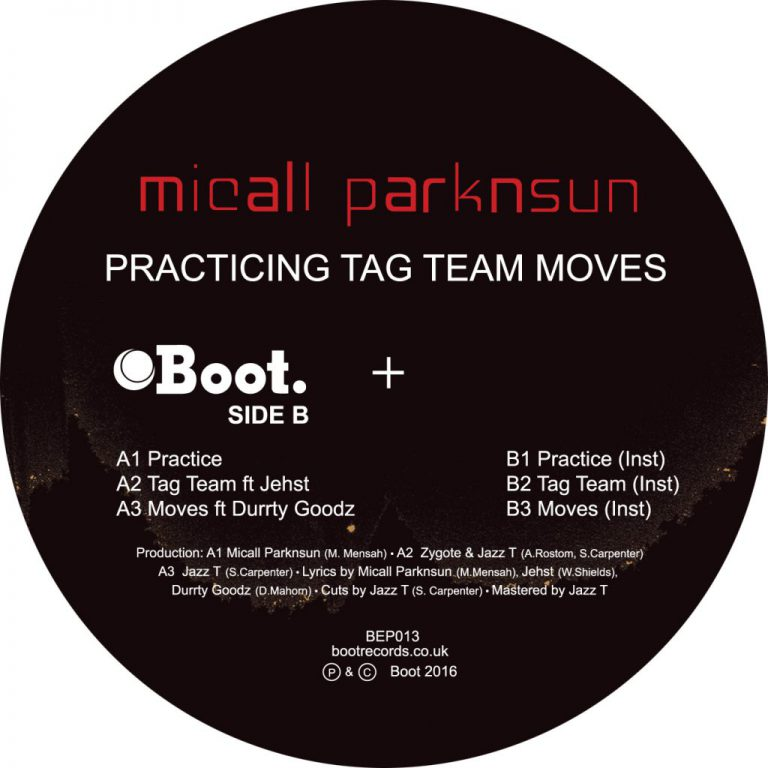 "Micall Parknsun – Practicing Tag Team Moves EP featuring Jehst and Durrty Goodz…limited edition 12"" Bandcamp Presale up now!"
